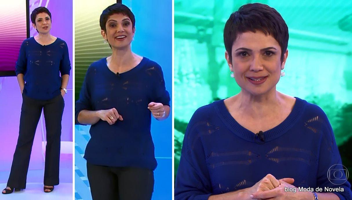 moda do programa Globo Ação - look da Sandra Annenberg dia 21 de junho