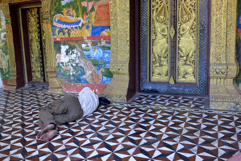man napping at a wat