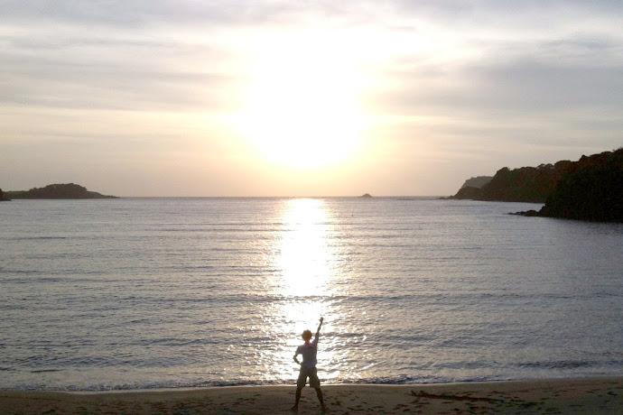 里浜海水浴場の夕日
