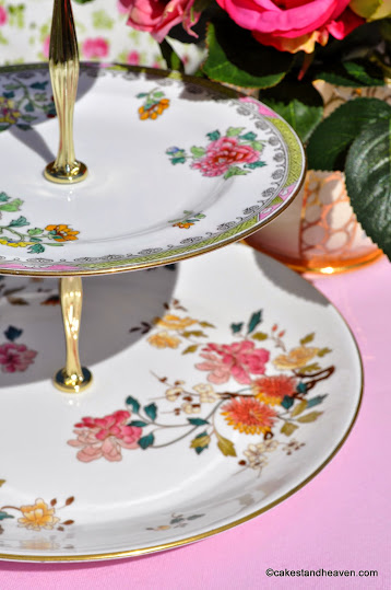 Colourful vintage bone china cake stand patterns