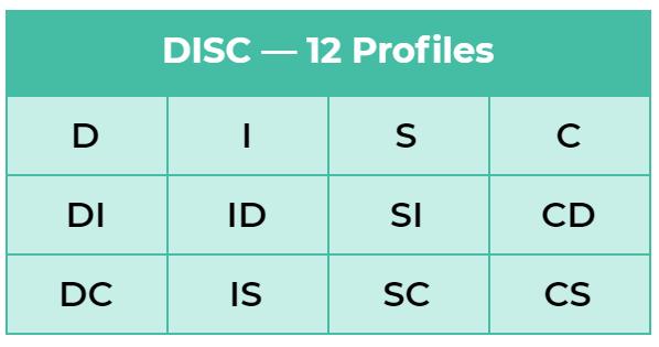 12 profil kepribadian dalam psikotes DISC. Profil yang ada adalah D, DI, DC, I, ID, IS, S, SI, SC, C, CD, dan CS.