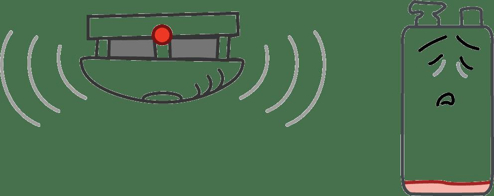 Warnanzeige für Batteriewechsel beim Rauchmelder
