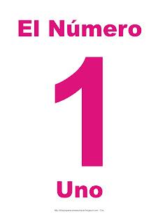 Lámina para imprimir el número uno en color magenta