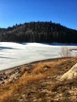 survival fishing on a frozen lake