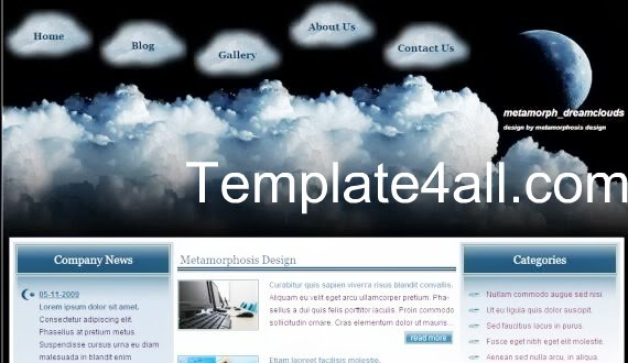 Free CSS Clouds Dream Vector Website Template