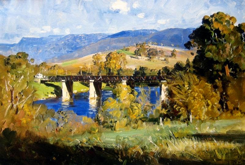 Arthur Streeton - Railway Bridge Over the Derwent
