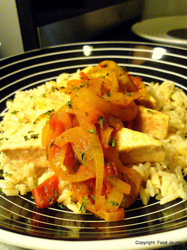 Tofu Triangles with Spicy Onion Sauce 2