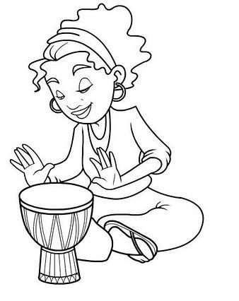 Mujer tocando el tambor para colorear