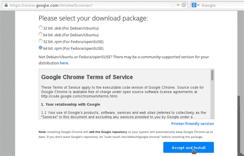 Download Google Chrome RPM