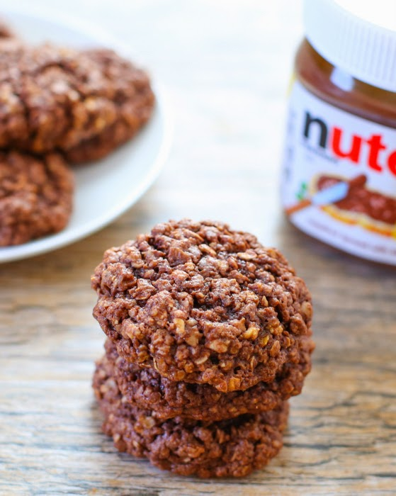 4 Ingredient Flourless Nutella Oatmeal Cookies Kirbie S