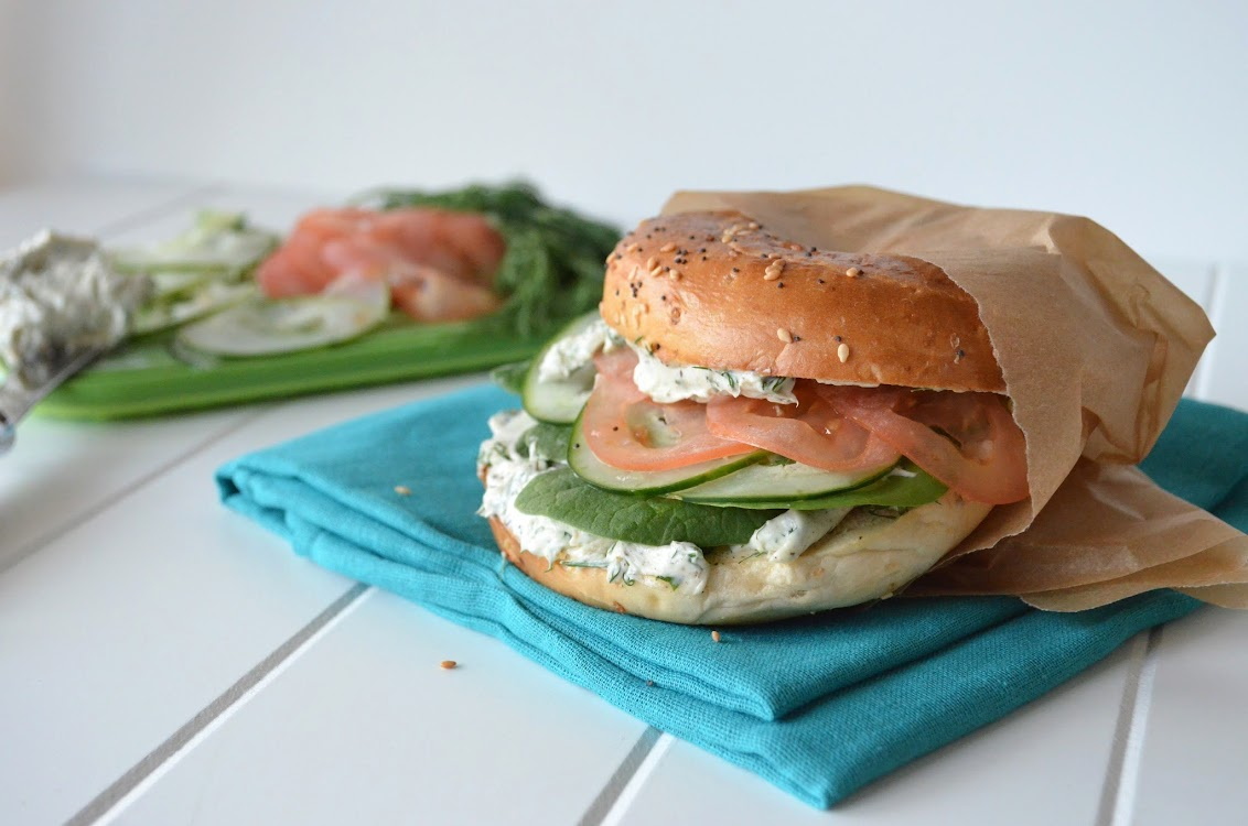 Veggie Bagel Sandwich with Herb and Garlic Cream Cheese