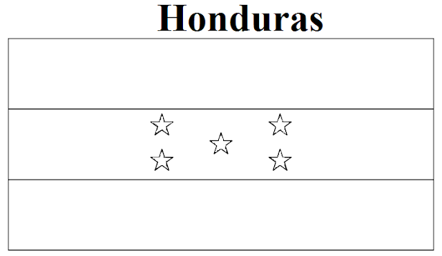 Honduras Flag Coloring Page on world map time zones india