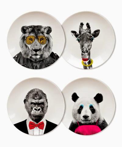 Wild Dining Plates - Lion, Panda, Gorilla, Giraffe ceramic plates