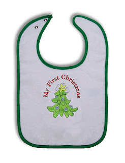 PERSONALISED MY FIRST CHRISTMAS BIB//SNOWMAN