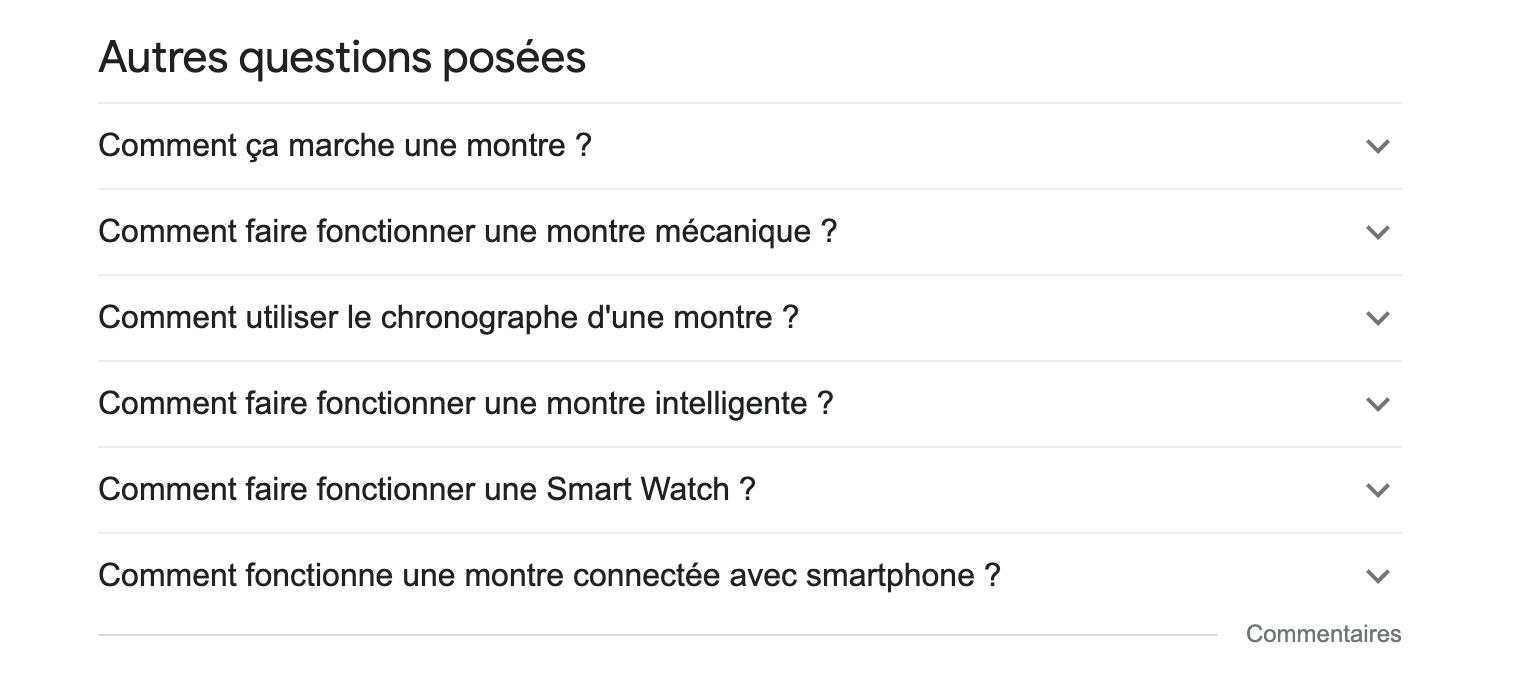 La fonction autres questions posées de Google dans les pages de résultats de recherche