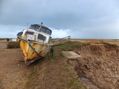 Abandoned cruiser with a removal notice served  upon it at Blakeney