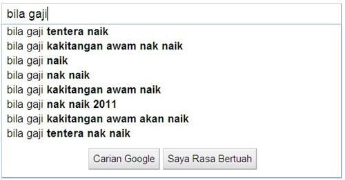 Google search bila gaji