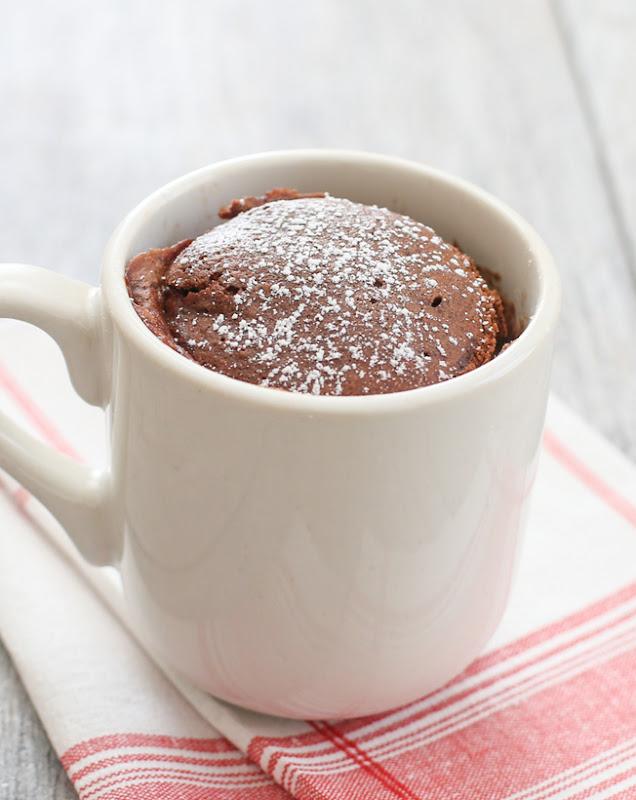 photo of a chocolate mug cake in a white mug