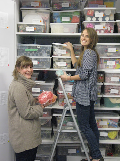 Laura and Whitney working on the closets.