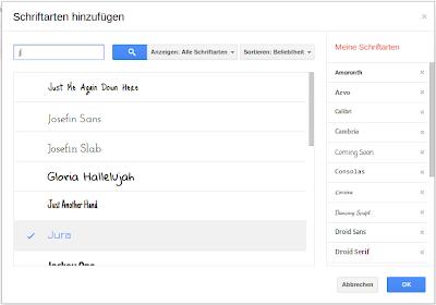 Google Docs Schriften verwalten