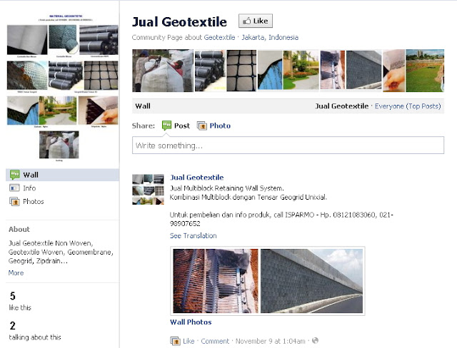 jual geotextile geomembrane Fanpage Facebook