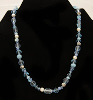 "Fun with Color - a variety of aqua glass beads & pearl 15"" $20"