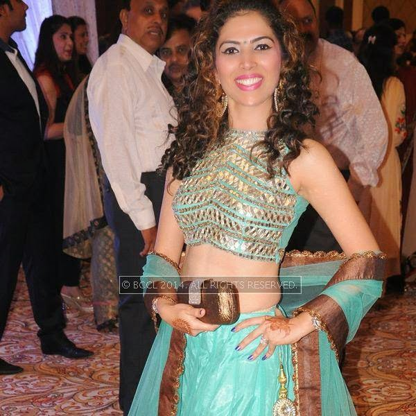 Bharti Pardasani during Richa-Gaurav Rughwani's wedding reception, held in Nagpur.
