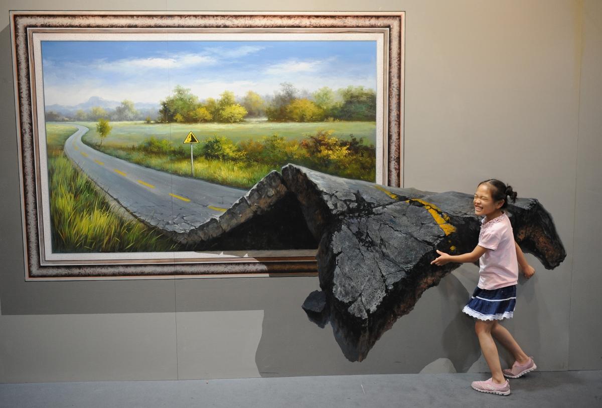 نقاشی سه بعدی جاده و کودک