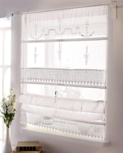 raffrollo mit spitze wei gardine vorhang 120x140cm rollo polyester neu ebay. Black Bedroom Furniture Sets. Home Design Ideas