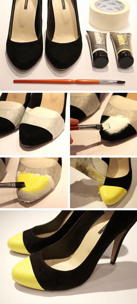 Faça igual customizando com menos $: scarpin com bico neon com tinta acrílica