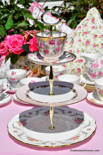 Mismatched pink vintage teacup topped 3 tier cake stand