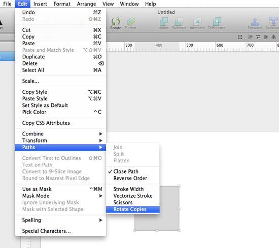 オブジェクトを選択し、Edit → Paths → Rotate copiesをクリック