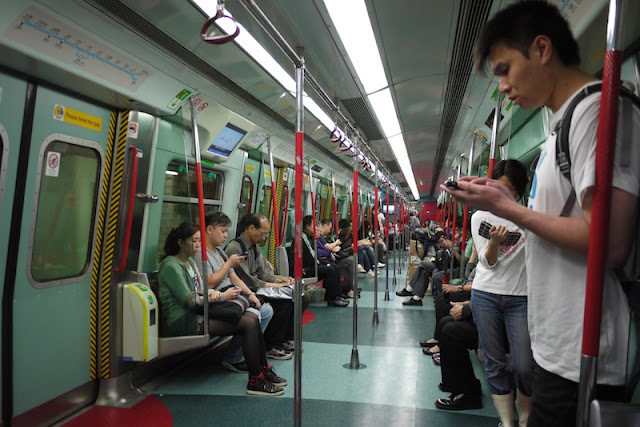 inside of subway car in Hong Kong