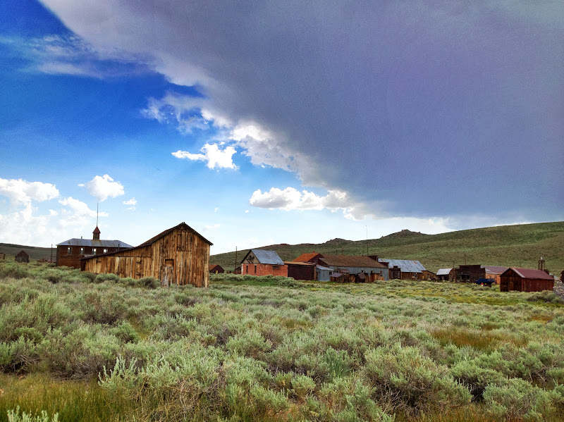 Bodie under an impending storm clouds