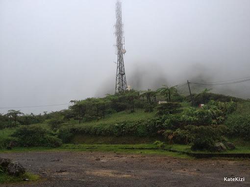 Начало восхождения. Вершина вулкана спрятана в плотном тумане