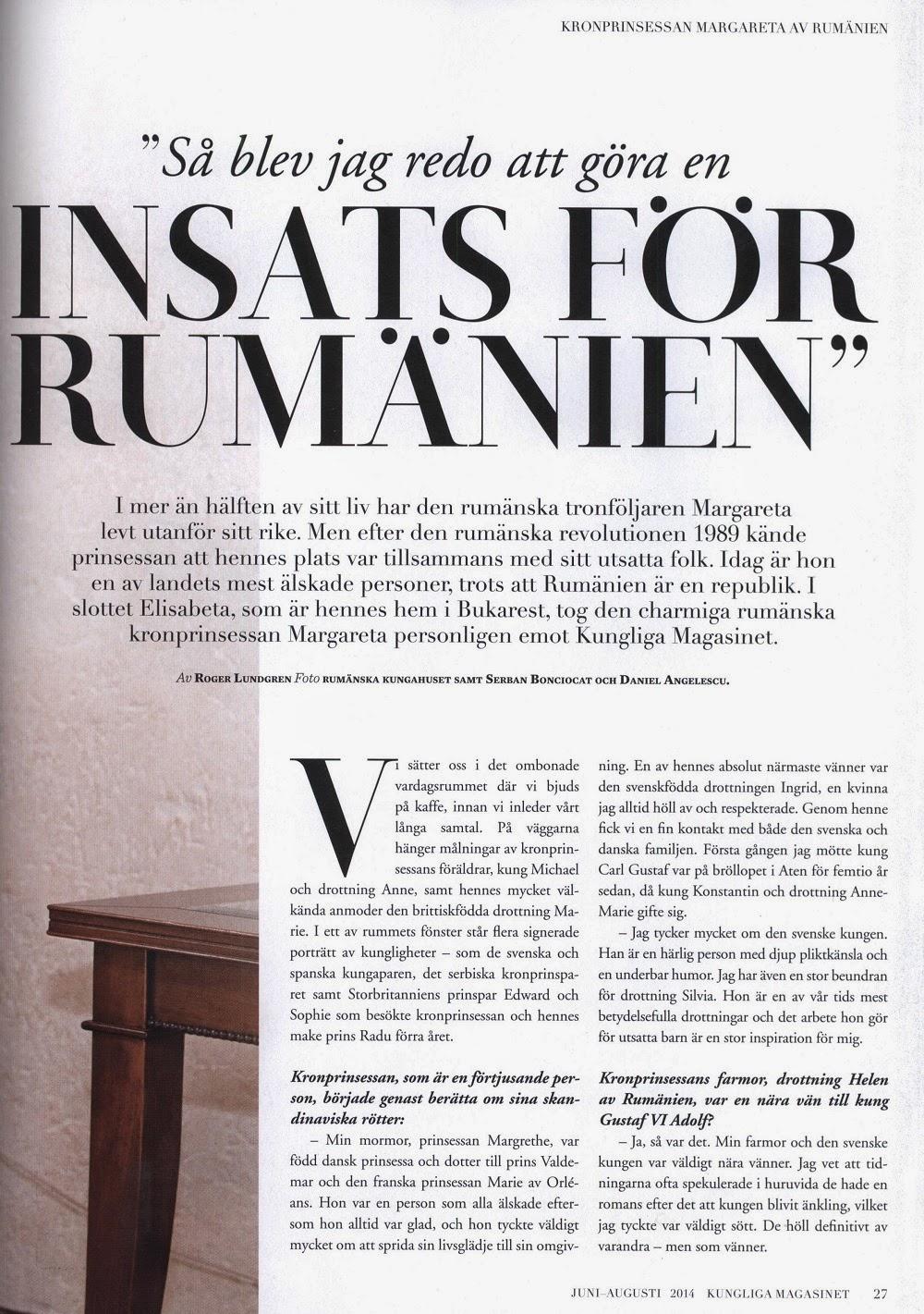 Principesa Margareta, eroina numărului din iunie al revistei Kungliga Magasinet