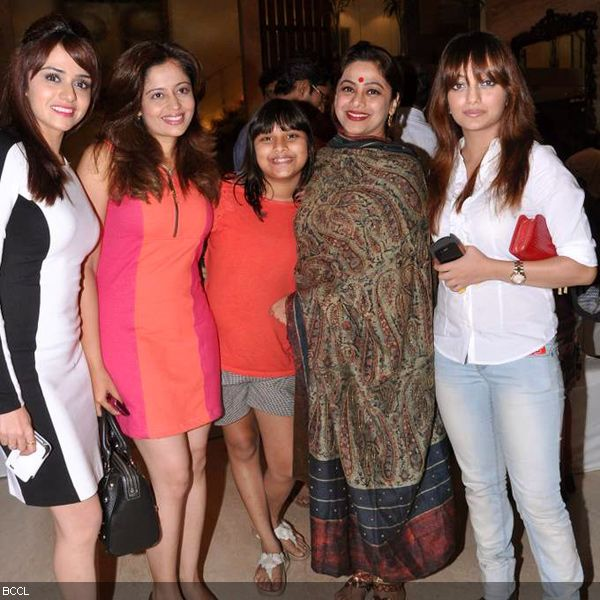 (L-R) Amruta Khanvilkar, Neha Pendse, Medha Manjrekar and Mansi Naik pose together during the press meet of MIFTA Awards, held in Mumbai, on May 27, 2013. (Pic: Viral Bhayani)