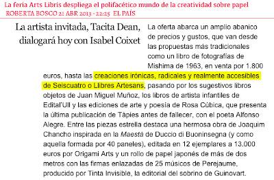 Llibres Artesans a El País