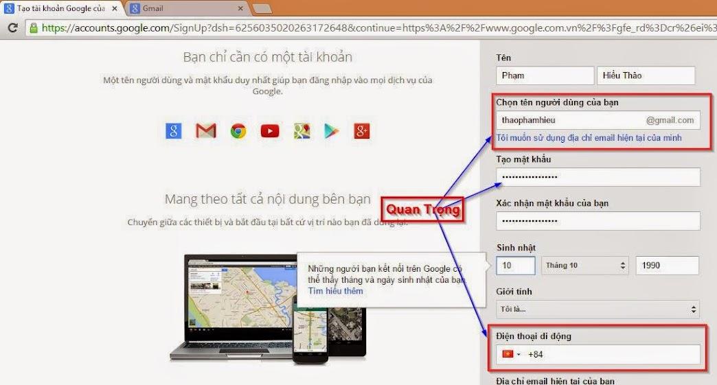 Điền thông tin đăng ký tài khoản Gmail