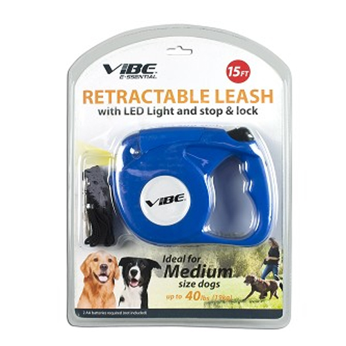 5M Blue Retractable Extending Extendable Dog Puppy Pet Leash Lead with LED Light