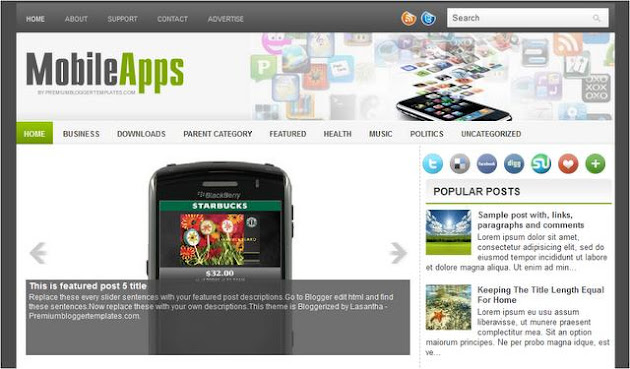 Mobile Apps Blogger Template