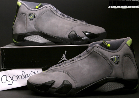 bca2038b41ecf3 Air Jordan XIV Retro (2006). 311832-031 Light Graphite Chartreuse-Black