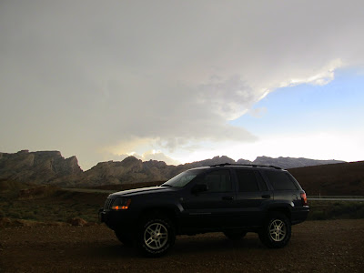 Under the edge of the storm as I pull off of I-70 onto the dirt road