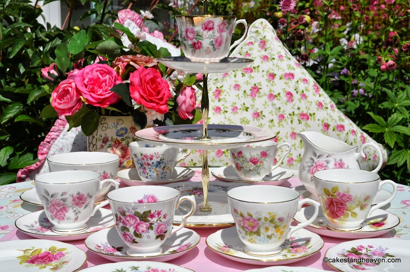 pink floral eclectic vintage tea set and cake stand