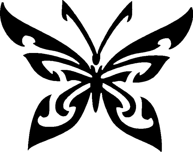 Black And Tribal Butterfly Tattoos