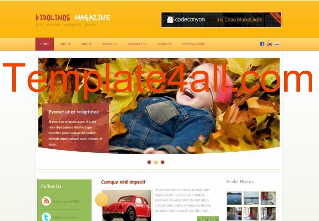 Kids Magazine Yellow Wordpress Theme Template