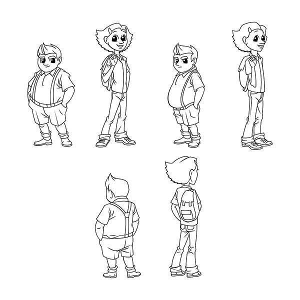 cartoon boy girl character outline
