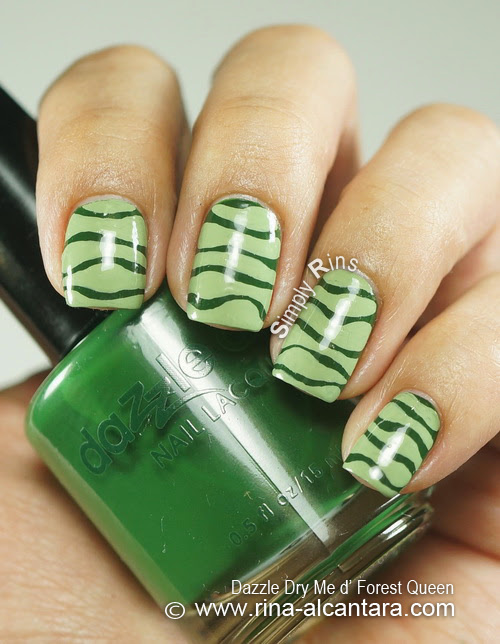 I Can't Draw a Straight Line Nail Art Design on Dazzle Dry Me d' Forest Queen