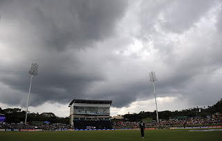 The murky skies in Pallekele brought heavy showers which delayed match proceedings, Pakistan v Zimbabwe, World Cup, Pallekele, March 14, 2011