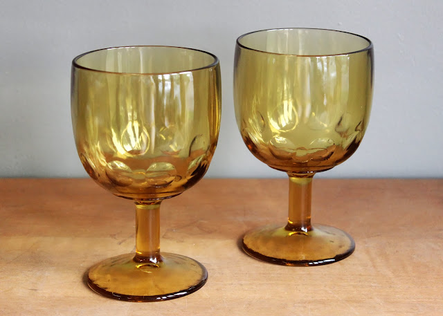 Assorted amber goblets available for rent from www.momentarilyyours.com, $1 each.